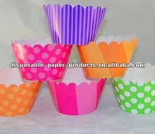 KIDS BIRTHDAY Baking Supplies / cake Accessories Candy Land Cupcake Wrappers in Pink, Orange, Green, and Purple