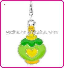 Beautiful enamel metal perfume bottle charm(H103235)
