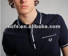2012 latest fashion 100% preshrunk combed pima heavy cotton blue and white stripe polo shirts