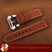 24mm expandable Brown Leather wristband for Panerai