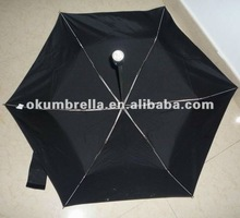 2012 fashion folding cute mini umbrella with LED torch handle