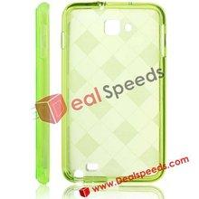 Stylish Rhombus Pattern TPU Phone Cover for Galaxy Note i9220(Grass Green)