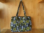 Quilted 100% Cotton Large Purse black yellowcolor