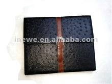 For New iPad 3 leather case briefcase design with ostrich-skin pattern