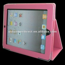 For New iPad 3 rd 3rd Gen Premium Leather Case Hard Cover Pouch Flip Stand(PU) rose red