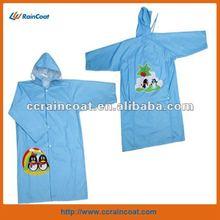 Wholesale blue plastic rain clothing for kids