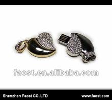 shenzhen market heart shaped crystal jewelry 8gb usb flash drives