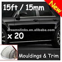 nuevo de la marca universal 45ft interior y exterior de cromo de moldura 15mm tira