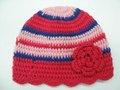 Chapéu da listra da flor do Crochet