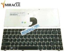 For Lenovo Z360 SILVER FRAME BLACK laptop keyboard US