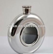 Novel design 5oz round hip flask with one side transparent