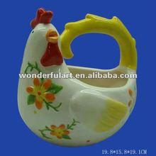chicken shape dolomite easter ceramic pot painting designs