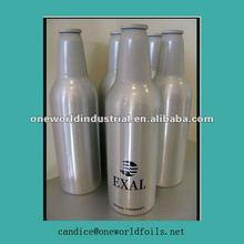 Empty aluminum beer bottle