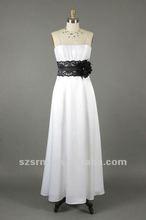 Off Shoulder Strapless Applique Flower Lace Sash Ruffles Chiffon A-Line Real Photo Wedding Dress 2012