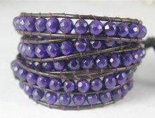 Handmade Hemp Bracelets with 6mm Facted Dark Purple Jade