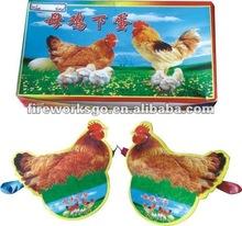 Hen lays eggs
