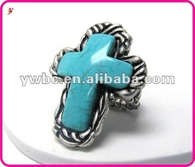 latest fashion turquoise stone cross stretch ring(R100809)