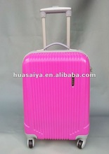 Popular ABS Stripe Style Trolley Luggage Travel Hard Case - Pink/Yellow