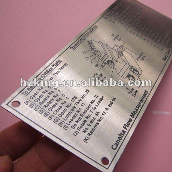 de acero inoxidable grabado de placas de identificación