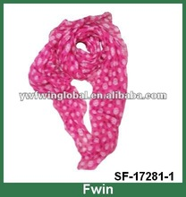 pink floral women polyester scarf 2012