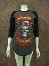 wholesale 100% cotton girls skull ghost printed design baseball t-shirt,cheap o-neck 3/4 long sleeve clothing manufacturer