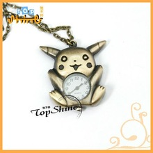 Lovely Pikachu Cartoon in Bronze Color Pocket Watch D01090o
