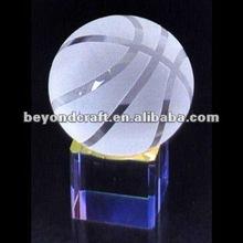 Sandblasting glass basket ball for shcool souvenir