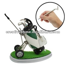 Synthetic Leather Golf Trolley Design Pen Holder with 3 Golf Gear Shaped Pens / Plastic Grass Mat (Green)