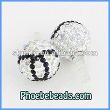 New Arrival Dustproof For Mobile Phone Earphone Jack Plug Ear Cap Pave Colorful Crystal Rhinestone Disco Ball MDP-P1401