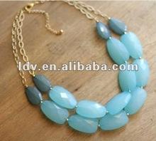 Hotsale lumo stone decorated statement necklace LDN756