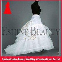 Hot sale long train white layered tulle petticoat