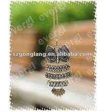 Hot Fashion Vintage Retro Bronze&Silver Big Black Eye Owl Pendant Chain Necklace