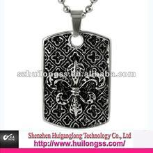 Fleur de Lis Tag pendant necklace stainless steel