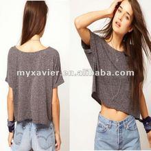 Crop Textured wholesale blank latest shirt designs for women