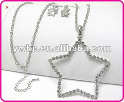 Costume crystal open star pendant jewelry set(A108874)