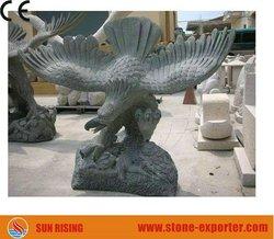 Black Granite Eagle Animal Sculpture