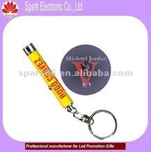 promotional mini led keychain logo reflecting in the light