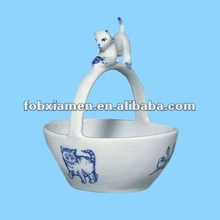 Cute Blue And White Cat Kitten & Mouse Ceramic Basket