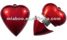 Popular Full Capacity Customised Logo Printed Red Heart USB Flash Memory