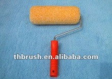 Fall new styles 7''pile 18mm Yellow Synthetic steel,chrom frame and red handle roller brush