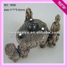 aquairum Resin ancient tea table design with ancient decorations ornaments for fish tank