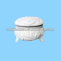 White Ceramic Unfinished Jewel Box Bisque