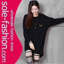 Fashion Black Long Sleeve Angel Wings Print Ladies Top