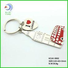 2012 Hot sale London souvenir England Bus metal key chain with heart shape love Big ben (KCUK-002)
