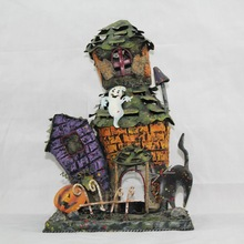 metal halloween house with candle holder for halloween
