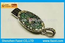 hot sale promotional gift necklace crystal usb flash disk driver