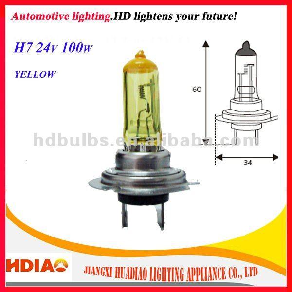 Ampoules des phares de voiture h7 jaune, 24v 100w