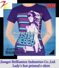 popular bright color purple lady music star printing t shirt