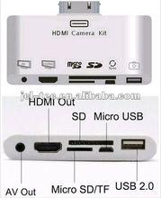 HDMI+AV+SD+TF+MICRO 5P usb card reader to hdmi adapter for ipad