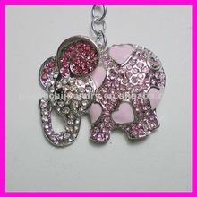 fashion zinc alloy crystal elephant keychain for thailand